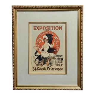 """1900s French """"Exposition De Tableaux & Dessins De a Willette"""" Poster by Jules Cheret For Sale"""