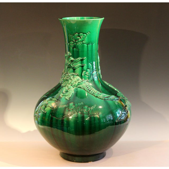 """Antique Japanese Awaji Pottery Green Dragon Vase 25"""" For Sale - Image 11 of 11"""