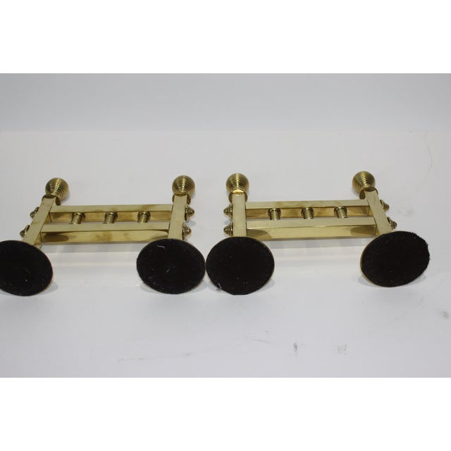 Brass 19c Fireplace Accesories - Trio of Fireplace Tools on Pair of Tool Stands (Racks) For Sale - Image 8 of 10