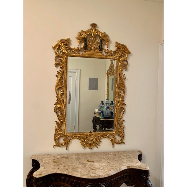 Asian 18th Century Chinoiserie Style Gold Framed Mirror For Sale - Image 3 of 3