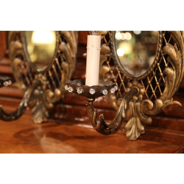 Metal Pair of Early 20th Century French Iron Wall Sconces With Crystal and Mirror For Sale - Image 7 of 11