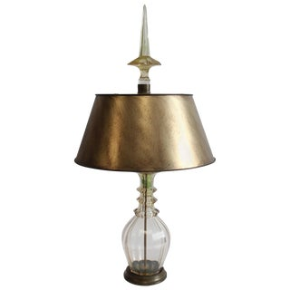 Late 19th Century Vintage Moser Smoky Champagne Cut-Glass Table Lamp For Sale