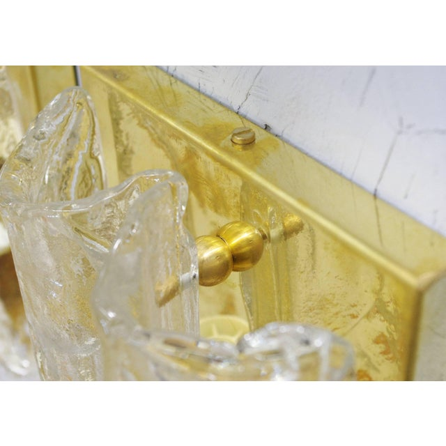 Gold Pair of Textured Sconces by Mazzega For Sale - Image 8 of 10