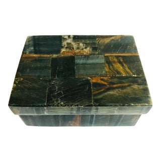 R & Y Augousti Organic Modern Box in Tessellated Tiger Eye Stone For Sale