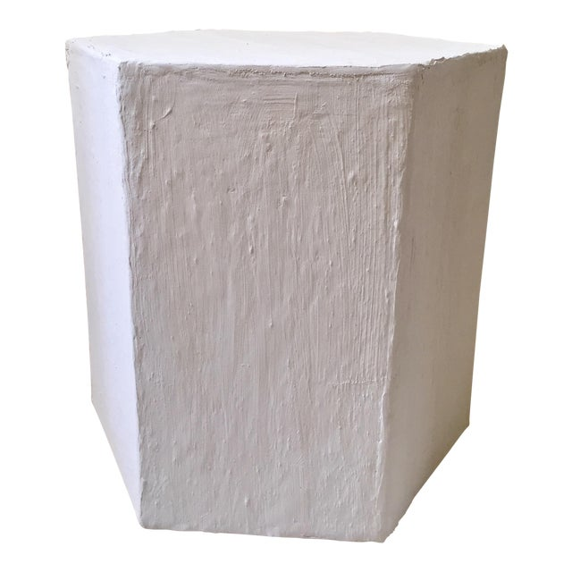Modern Raw Plaster Hexagon Side Table For Sale