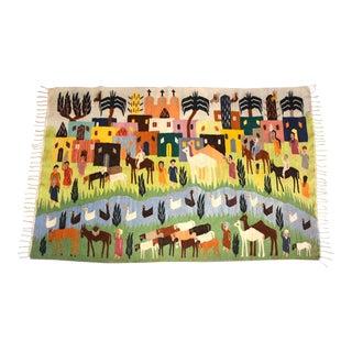 Handmade Wool Kilim Tapestry Rug For Sale