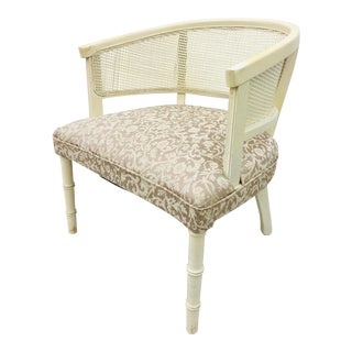 Vintage Cane Back Faux Bamboo Style Arm Chair For Sale