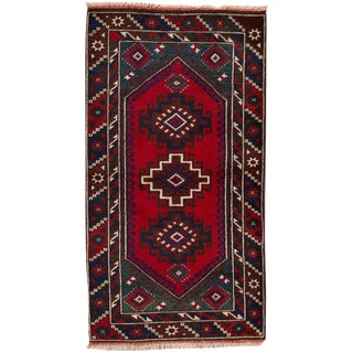 """Vintage Hand-Knotted Pakistani Balouch Rug, 2'4"""" X 4'3"""""""