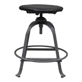 Antique American Industrial Grey Steel Metal Adjustable Work Stool