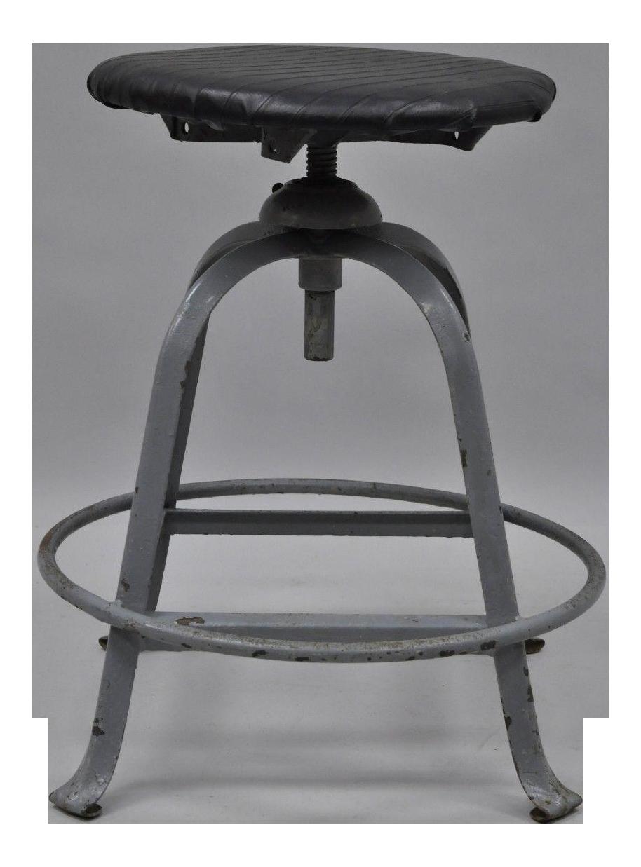 Antique American Industrial Grey Steel Metal Adjustable Work Stool