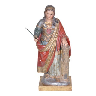 Antique Spanish Hand Carved Wooden Statue of Saint Barbara With Original Polychrome Finish and Glass Eyes For Sale