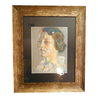 1936 Art Deco Portrait of Woman Original Pastel on Paper, Signed by the Artist For Sale