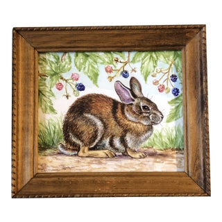 Original Contemporary Watercolor Painting Rabbit With Raspberries Signed For Sale