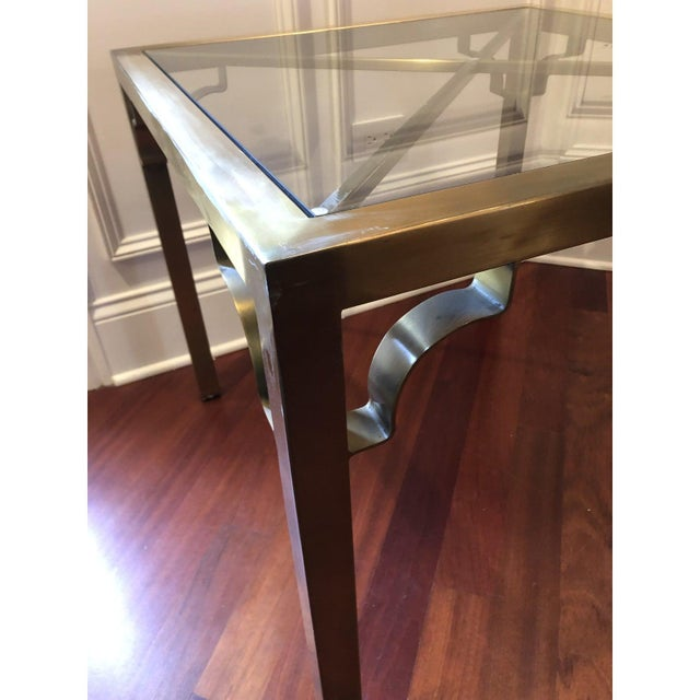 Asian Hollywood Regency Brass & Glass Accent Table For Sale - Image 3 of 9