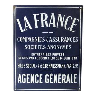 Antique La France Blue Enamel Advertising Sign