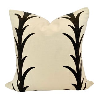 "Boho Chic Schumacher Acanthus Striped Pillow - 20""x20"" For Sale"