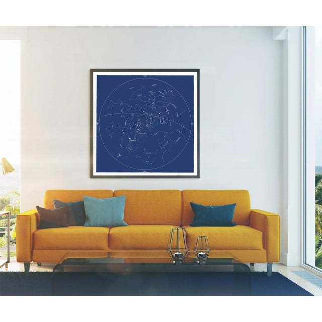 Contemporary Square Vintage Minimal Star Map With Constellations For Sale - Image 3 of 5