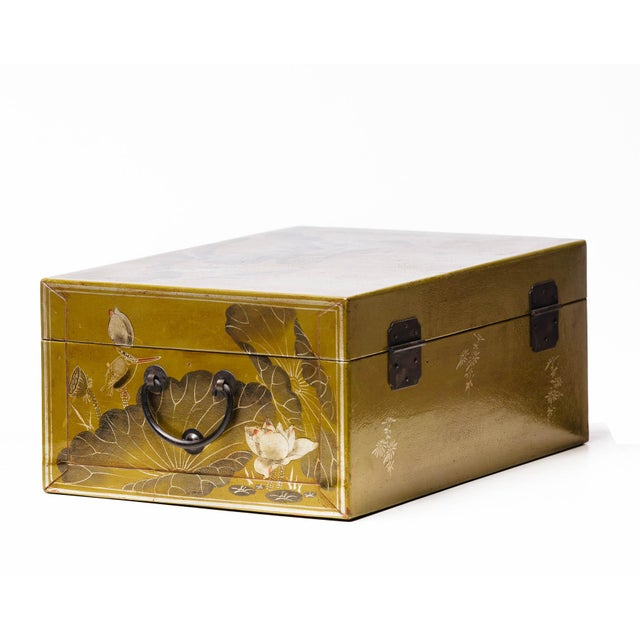 Hand-Painted Lotus Scene Chartreuse Leather Box on Patinated Brass Stand as Side Table by Lawrence & Scott For Sale - Image 10 of 13