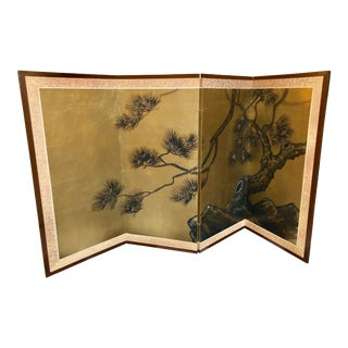 Japanese 4-Panel Byobu Screen For Sale