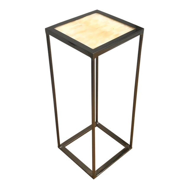 Onxy and Black Nickel Plated Side Table For Sale
