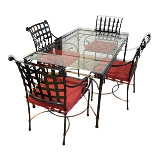 Brown Jordan Florentine Collection Table + Four Chairs Indoor/Outdoor Patio Set For Sale