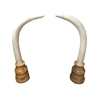 Solid Marble Elephant Tusks - A Pair For Sale
