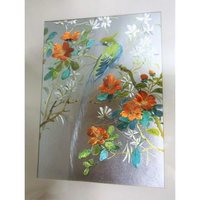 Iridescent Art Print with Asian Phoenix & Floral Design - Image 4 of 8