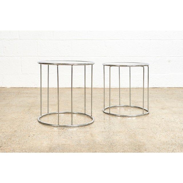 Mid-Century Modern Mid Century Baughman Style Chrome & Glass Nesting Side Tables For Sale - Image 3 of 11