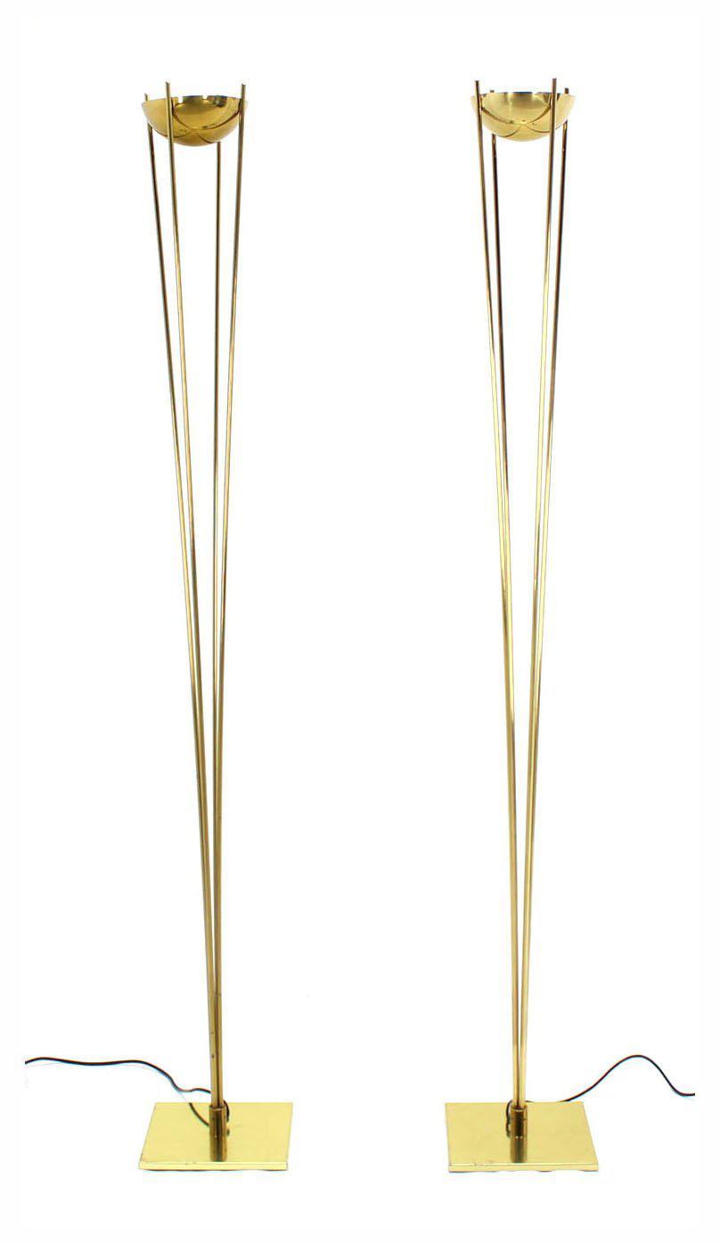 Incredible pair of brass mid century modern halogen floor lamps decaso