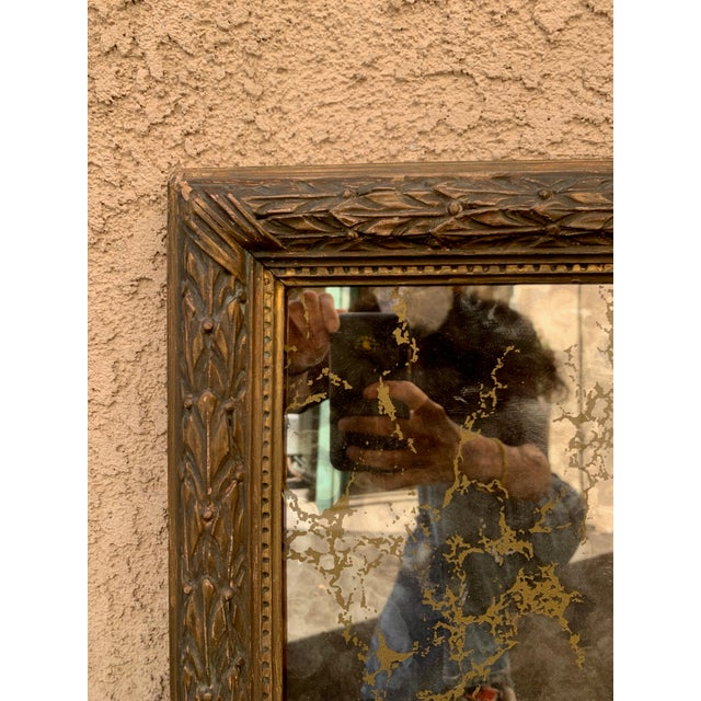 Gothic Vintage Gold Leaf Antique Mirror With Soaring Eagle For Sale - Image 3 of 6