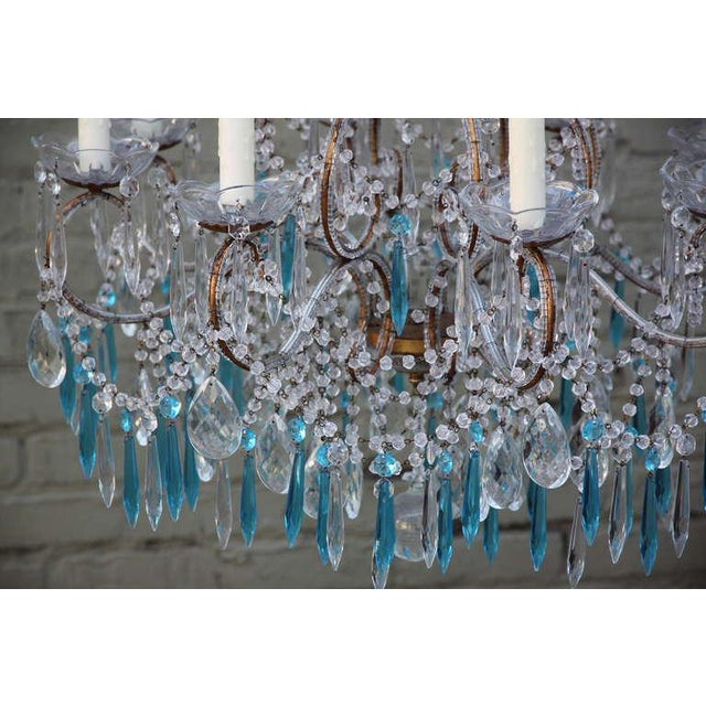 Glass Italian Crystal Beaded Chandelier $3,400 For Sale - Image 7 of 9