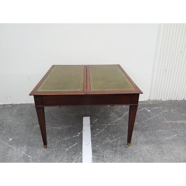 English Drafting Partners Table With Green Leather Top For Sale In San Antonio - Image 6 of 12