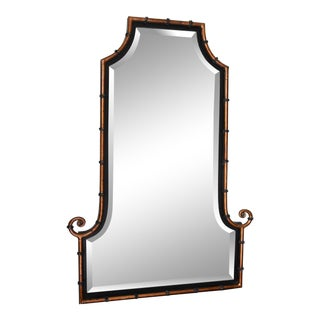Hollywood Regency Himalaya Iron Bamboo Mirror For Sale