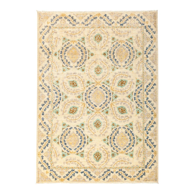 "Suzani Hand Knotted Area Rug - 6' 4"" X 8' 8"" - Image 1 of 4"