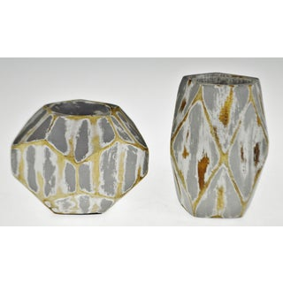 Vintage Geometric Faceted Votive Candle Holders - a Pair Preview