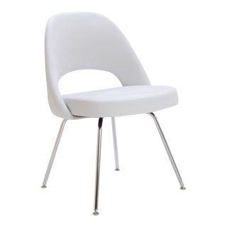 Saarinen Executive Armless Chairs in Dove Luxe Suede For Sale