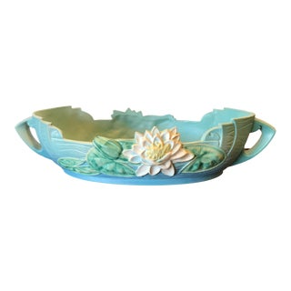Vintage Roseville Pottery Console Bowl With Lily Design For Sale