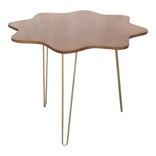 Mid-Century Modern Flower Wood Top Table With Hairpin Legs For Sale