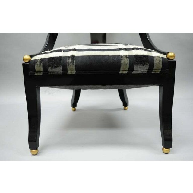 Wood 1960s Vintage Michael Taylor Baker Black Lacquer & Gold Spoon Back Slipper Lounge Chairs- A Pair For Sale - Image 7 of 10