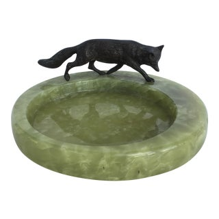 Bronze Fox on Onyx Bowl