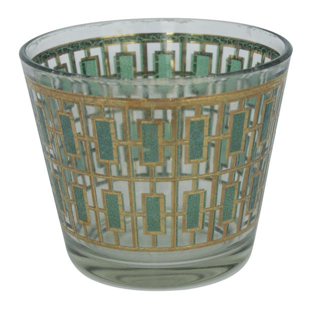 Vintage Culver Green and Gold Ice Bucket - Image 1 of 6