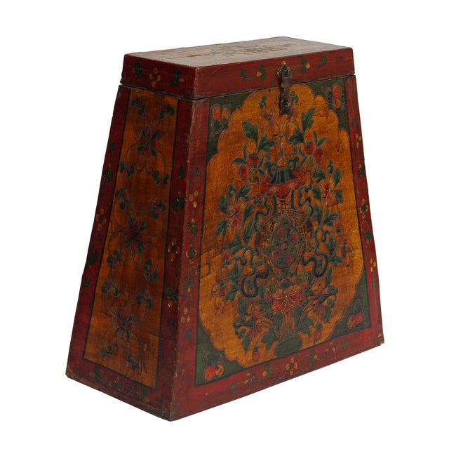 This is a handmade Chinese Tibetan accent decorative trunk shape box made of wood and finished with vintage distressed red...