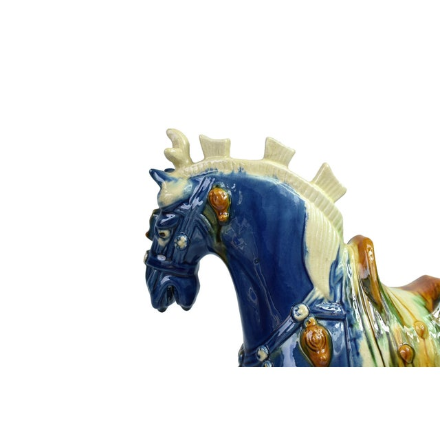 Traditional Chinese Blue Terra Cotta Pottery Horse For Sale In Los Angeles - Image 6 of 11