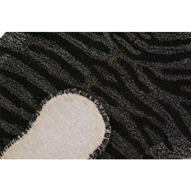 Contemporary Decorate Wild Black Tiger Design Handcuffed Area Rug For Sale In New York - Image 6 of 8