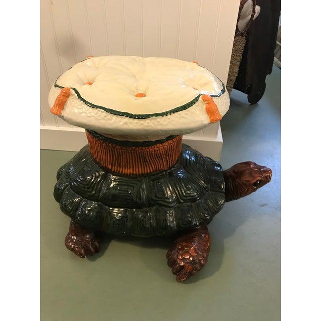 Charming vintage turtle garden stool.