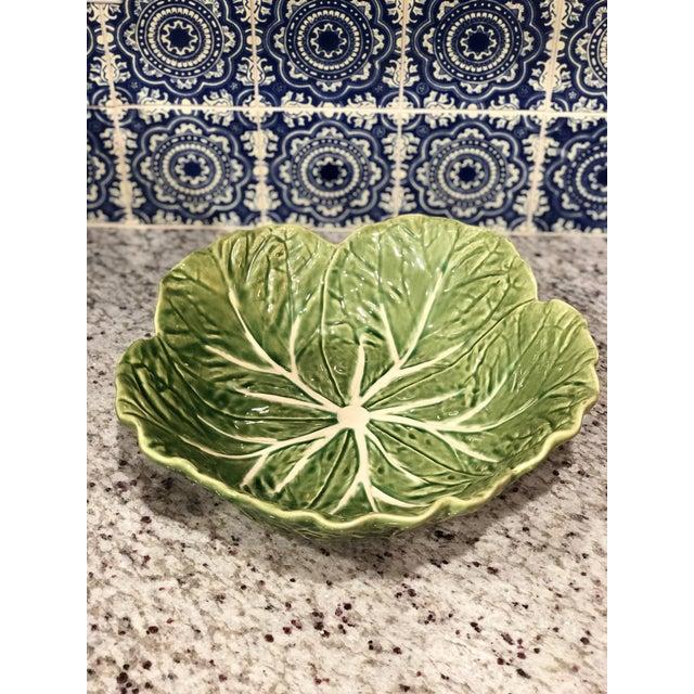 Bordallo Pinheiro 1970s Vintage Bordallo Pinheiro Majolica Cabbage Bowl For Sale - Image 4 of 4