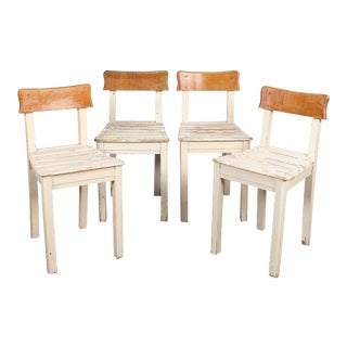 Set of 4 Vintage Italian Small Slat-Seat Chairs For Sale