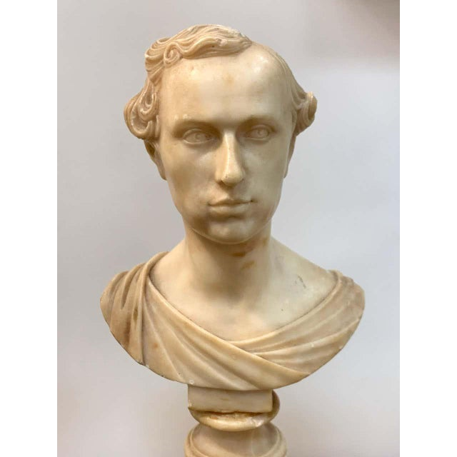 Neoclassical Italian Neoclassical Alabaster Portrait Bust of a Gentleman, by Insom Fece, 1839 For Sale - Image 3 of 12