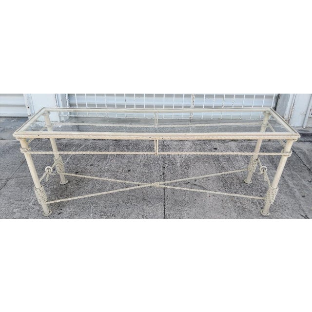 Tan Iron Console With Metal Rope Trim and a Glass Top, Vintage For Sale - Image 8 of 8