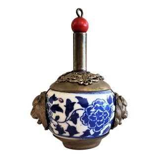 19th Century Chinese Tibetan Pewter Porcelain Snuff Bottle For Sale
